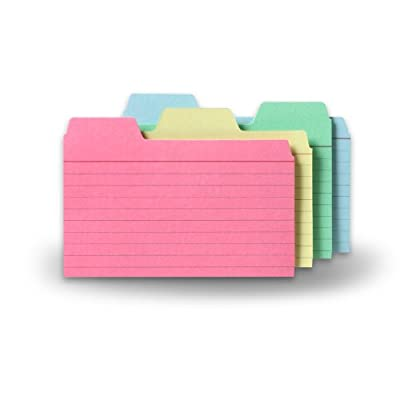 Find-It Tabbed Index Cards, Assorted Colors, 48-Pack