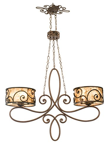 Kalco 5407AC/S221 Island Lights with Stained Mica Shades, Antique Copper (Kalco Copper Table Lamp)