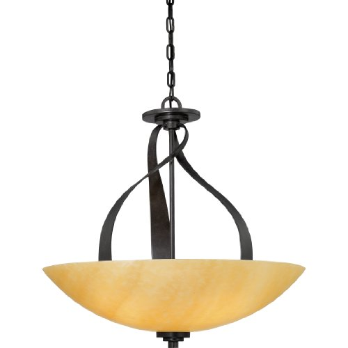 Quoizel KY2822IB Kyle Rustic Alabaster Stone Bowl Multi Light Pendant, 5-Light, 375 Watts, Imperial Bronze (22.5