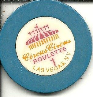 $1 circus circus roulette blue casino chip las vegas nevada vintage