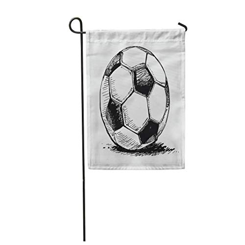 (Semtomn Garden Flag 28x40 Inches Print On Two Side Polyester Blue Sketch Soccer Ball Football Sport Shadow World Black Path Home Yard Farm Fade Resistant Outdoor House Decor)