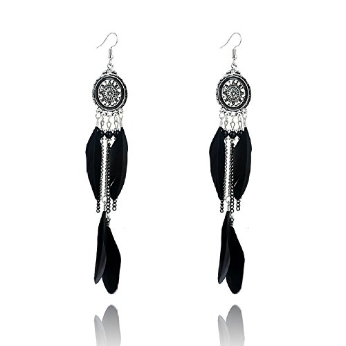 ANNE & SOUL Alloy Dream Catcher Long Feather Leaf Dangle Earring (Black)
