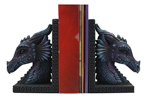 """Ebros Purple Beauty Nimrod The Legendary Dragon Head Bookends Set of Two Statue 7.5""""tall Mythical Fantasy Dragon Home Decor from Ebros Gift"""