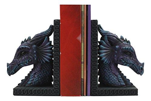 (Ebros Purple Beauty Nimrod The Legendary Dragon Head Bookends Set of Two Statue 7.5