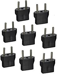 Tmvel USA American to Asia or European Electrical International Power Wall Outlet Travel Plug Adapter Socket - 8 PCS USA to