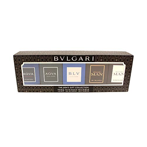 Bvlgari The Men's Gift Collection 5pcs (Aqva EDT 0.17oz+Aqva Atlantiqve EDT 0.17oz + Bvlgari Man in Black EDP 0.17 oz + Bvlgari Man Black Cologne EDT 0.17 oz + BLV Pou Homme EDT 0.17oz)