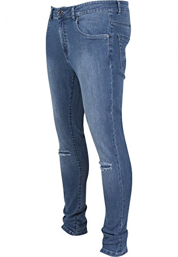 Urban Classics - SLIM FIT Knee Cut Denim Jeans blue washed
