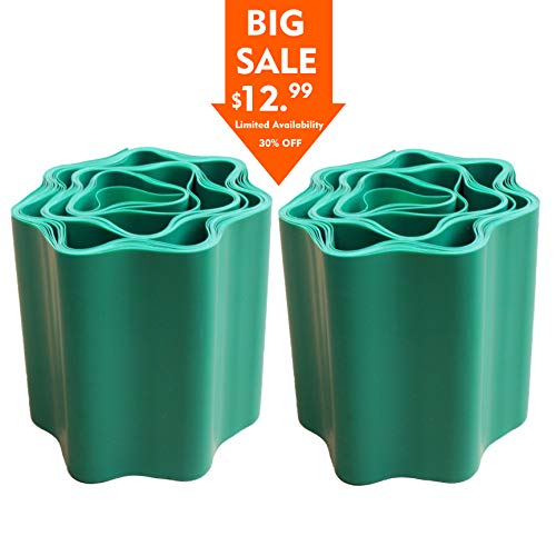Gardzen 2-Pack 5.9in x 39ft Gardening Green Flexible PVC Garden Lawn Edging, Border Edging for Lawns, Flower Beds. Protect Your Lawn from Erosion with This Strong and Durable Plastic Lawn Edging