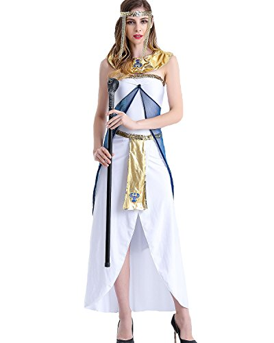 Greek Goddess Costumes Patterns (Aifang Womens Halloween Costume Greek Goddess Egyptian Queen Cosplay White Dress L)