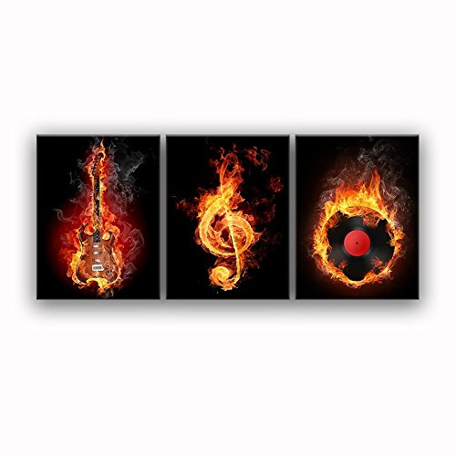 "Fire Music Wall Art Guitar Abstract Canvas Prints Home Decor for Living Room Modern Black Red Pictures 3 Panel Large Posters Printed Painting Wooden Framed Ready to Hang (20""W x 28""H x 3 Panels, A)"