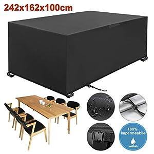 YISSVIC Copertura Tavolo Giardino Copertura Tavolo Esterno 242×162×100cm Copertura della Mobilia 420D Panno Oxford… 12 spesavip