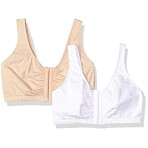 Fruit of the Loom Women's Front Close Builtup Sports Bra 2-Pack, Sand/White, 34