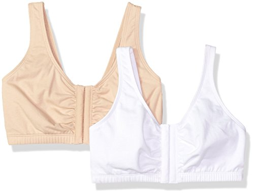 Fruit of the Loom Women's Front Close Builtup Sports Bra, Sand/White, 34