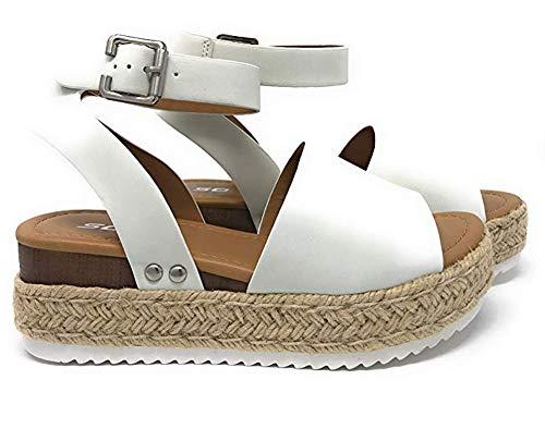 Camisunny White Sandals for Women Flat Leather Fashion 2019 Comfortable Espadrille Platform Size 41 (Best Beach Sandals 2019)