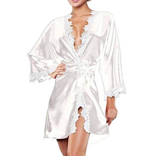 cooshional Camisón Pijama Túnica Ropa Interior de Dormir Lencería Bata para Mujer Satén Seda Encaje Con G string Azul: Amazon.es: Ropa y accesorios