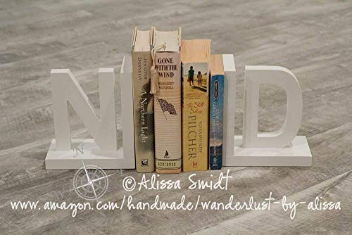 Letter Bookends, Initial Bookends, Wooden Custom Bookends - Custom Created to Coordinate with Your Decor (alphabet bookends, name bookends) ()