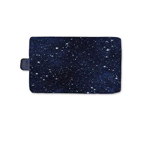 - Night Stylish Picnic Blanket,Star Filled Dark Sky Vivid Celestial Theme Cosmos Galactic Cluster Constellation Decorative Mat for Picnics Beaches Camping,58