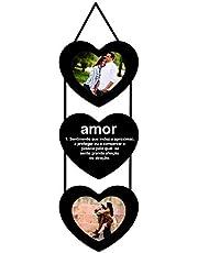 Porta Retratos Corações Amor Significado Para 2 Fotos 10x10cm Kapos Preto