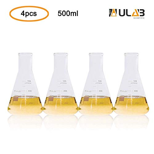 (ULAB Scientific Narrow-Mouth Glass Erlenmeyer Flask Set, 17oz 500ml, 3.3 Borosilicate with Printed Graduation, Pack of 4, UEF1026)