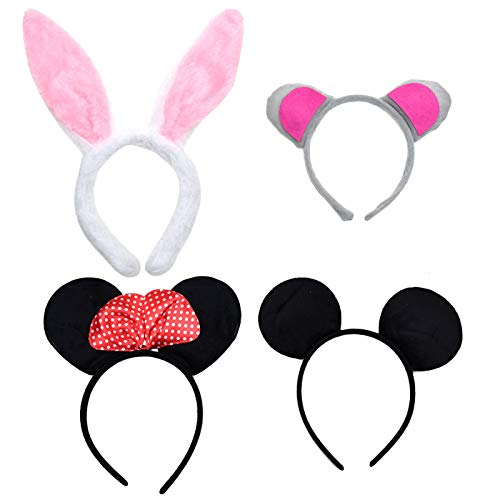 AQUEENLY Zoo Animal Ear Headbands Plush, Rabbit Headband Koala Headband and Mickey Mouse Ears, Minnie Ears Headband Party Favor, 4pcs -
