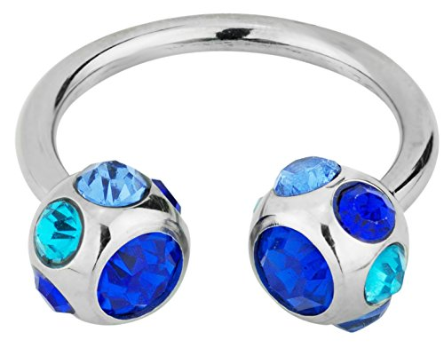 Forbidden Body Jewelry 14g 12mm Surgical Steel Horseshoe Piercing Ring with 7-Gem Blue Crystal 6mm Balls