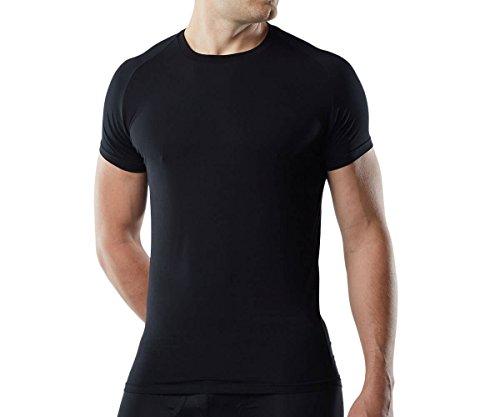 Mr. Davis Men's Bamboo Viscose Traditional Cut Crew Neck Undershirt, Black, Medium 3 Pack
