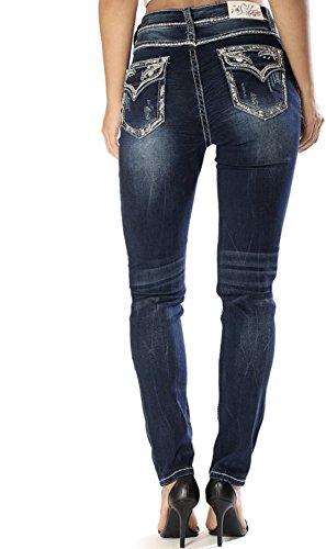 - Grace in LA Jeans Mid Easy Skinny Flap Soft Denim Jean (26) Blue