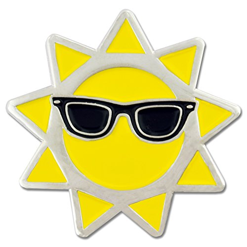 (PinMart Cool Sun with Sunglasses Summer Enamel Lapel Pin)