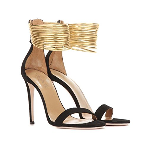 SHEO sandalias de tacón alto Sandalias de gamuza con tobillo de gamuza Negro