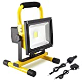 Dersoy 30W LED Work Light Rechargeable Portable Flood Light Emergency Light Security Lights Built-in Li-ion Batteries with Stand for Outdoor Lighting/Camping/Hiking/Fishing/Car Repairing