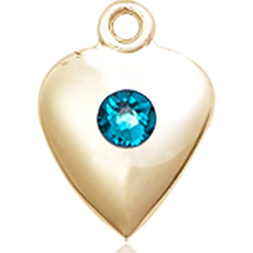 14kt Yellow Gold Heart Medal with 3mm December Blue Swarovski Crystal 1 1/4 x 1 5/8 inches by Bonyak Jewelry Saint Medal Collection