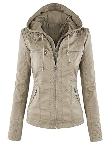 Beauty Island Womens Hooded Faux Leather Motorcycle Jacket Plus Size Hoodie Removable Full Zipper Bomber Outerwear M-7XL