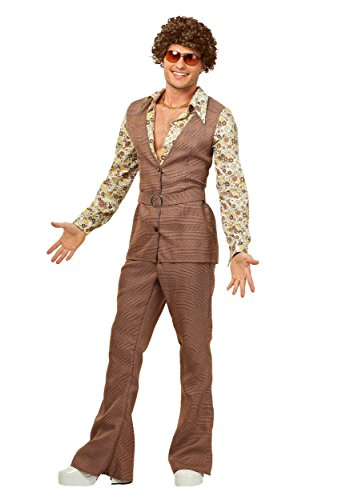Men's Plus Size 70's Vest Costume 3X Brown -