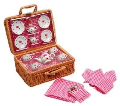 ToyPlaya Butterfly, Porcelain Tea Set in Basket