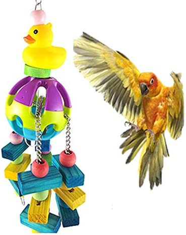 Wimagic 1x Parrot Chew Toy Plastic Ball Colorful Wooden Play Stand Perches Yellow Duck Design Pet Toy Cages Decorative Accessories for Budgies Cockatiel Birds