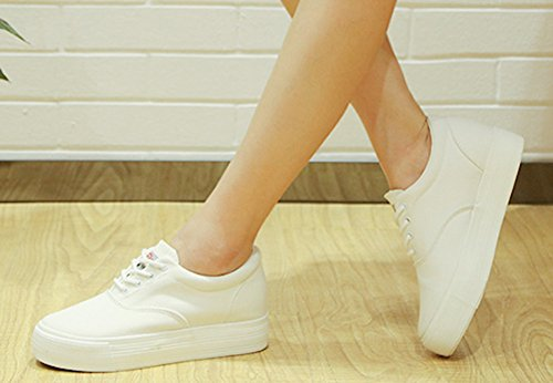 Wedge Casual Up Sneakers Round Elevator Hidden Thick White Canvas Shoes Sole Womens Lace Toe Platform Aisun zwxSqx