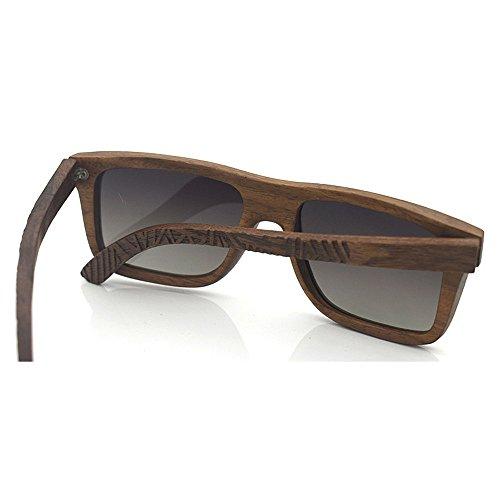 polarisé femmes bois lunettes Style main à de protection Couleur Marron Rouge naturel soleil en KOMEISHO simple hommes la gravure UV pour WxOY8w1qxS
