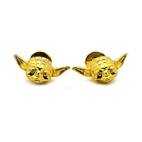 Teri's Boutique Star Wars Master Yoda Mask Gold Tone Mens Cufflinks w/ Gift Box -