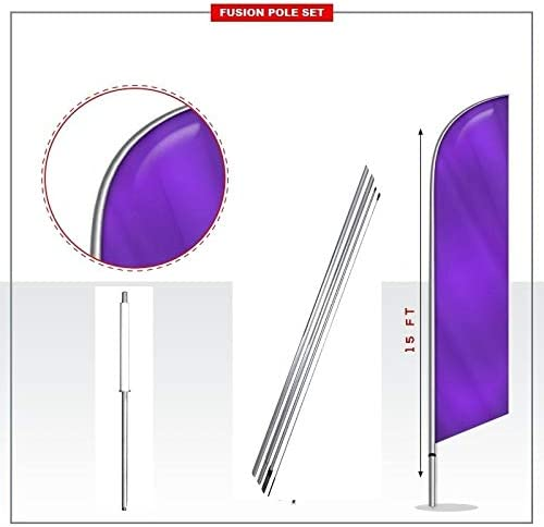 Galvanized Steel Stake 15 Fusion Pole Set Gym Windless Stay-Open Feather Swooper Flag Banner Kit