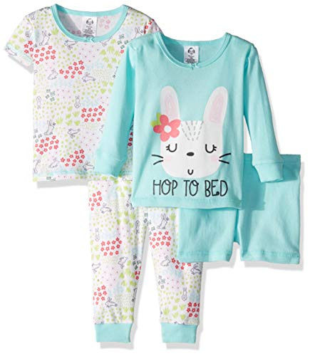 Gerber Baby Girls 4-Piece Pajama Set, Bunny Flowers 5T -