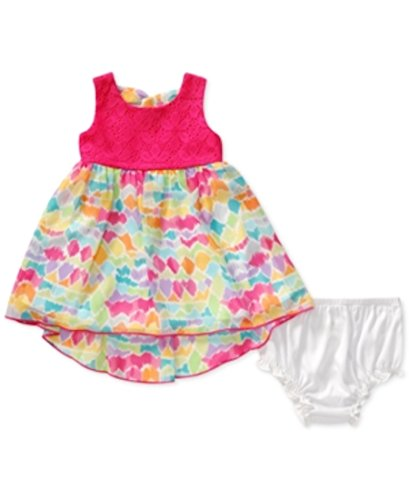 Sweet Heart Rose Baby Girls' Crochet Bodice and Printed High Low Dress, Pink/Multi, 24 Months