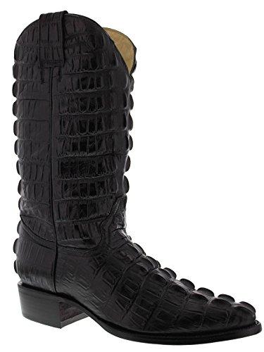 El Presidente - Men's Black Full Crocodile Tail Print Cowboy Boots J Toe 13 2E US