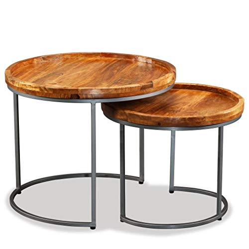 Festnight Set of 2 Wood Nesting End Side Table with Wrought Iron Legs Industrial Stackable Round Coffee Table for Living Bedroom Furniture Home Space ()