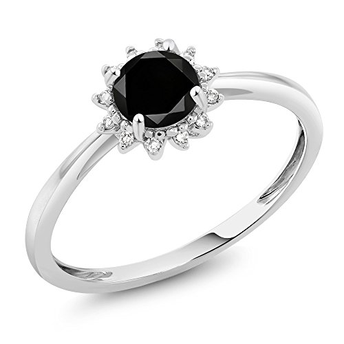 Gem Stone King 10K White Gold 0.55 Ct Round Black Diamond Engagement Ring (Size 7) ()