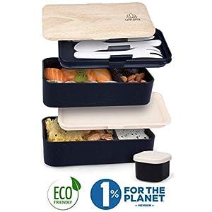 UMAMI® ⭐ Premium Bento Lunch Box con Vaschetta Condimento & 3 Posate - Porta Pranzo Ermetico a 2 Scomparti - Pasti A… 3 spesavip