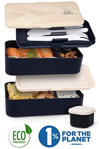 Umami® ⭐ Premium Bento Lunch Box con Vaschetta Condimento & 3 Posate - Porta Pranzo Ermetico a 2 Scomparti - Pasti A… 1 spesavip