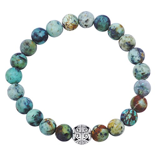 (MetJakt Natural 8mm Gemstones Healing Crystal Stretch Beaded Bracelet Bangle 925 Silver Double Happiness Pendant (African Turquoise))