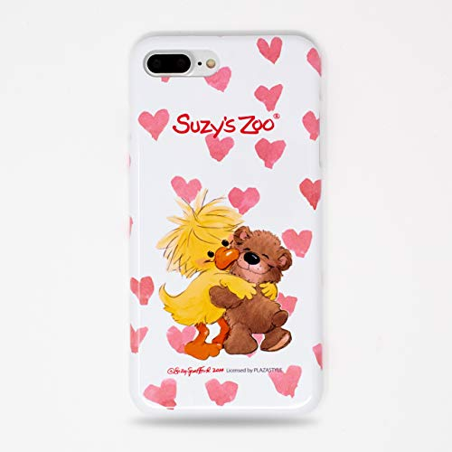 (Made in Japan Suzy's Zoo Witzy Duck and Boof Bear Heart White Snap Case for iPhone 7 Plus & iPhone 8 Plus)