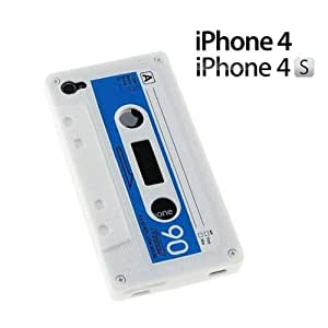 For Iphone 4/4S Case Cover / 4 Cassette Tape Style Silicone Skin Case / Cover / Shell - White