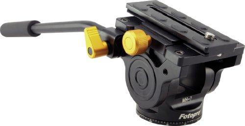 Rollei MH-7 Fluid-Stativkopf aus Aluminium - bis zu 4 kg Belastbarkeit, mit langer Schnellwechselplatte und Wasserwaage - Schwarz